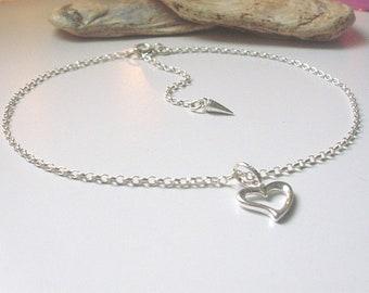 Sterling Silver Heart Anklet, Love Charm Ankle Chain Bracelet, Adjustable with Extender, UK Handmade Gift For Women, Gift Boxed