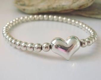 Sterling Silver Heart Bead Bracelets for Women, Handmade Stacking Sweetheart Bangle, Custom Sizes, Gift Box