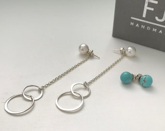 Sterling Silver Stud Earrings with Detachable Charms, Interlocking Circles Drop Chain Earrings for Women, UK Handmade, Gift Boxed