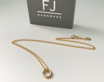 Gold Ring Necklace for Women, Irregular Ring Pendant on Dainty Gold Chain, UK Handmade Gift for Women, Gift Boxed, Custom Sizes