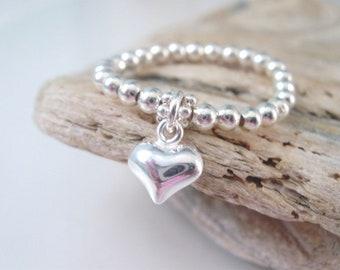 Sterling Silver Stretch Beaded Rings for Women, Heart Charm Ring, UK Handmade Gift for Her, Custom Sizes, Gift Box, 2.5mm Beads