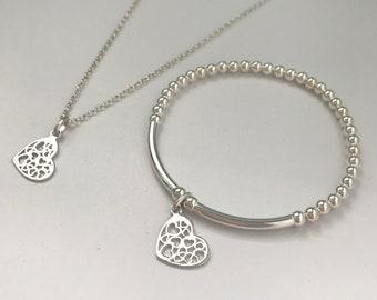 Sterling Silver Necklace Bracelet Set, Heart Charm Necklace & Beaded Bracelet Gift for Women, UK Handmade to Order, Custom Sizes