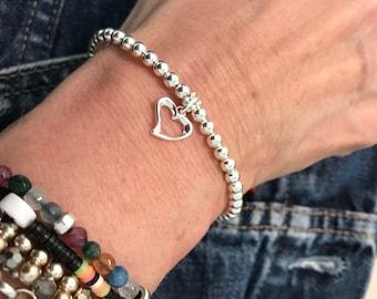 Sterling Silver Beaded Bracelets for Women, Heart Charm Bracelet, UK Handmade 4mm Stretch Beaded Gift for Her, Custom Sizes