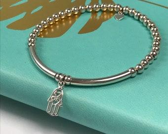 Sterling Silver Stretch Stacking Bead Bracelets for Women, Hamsa Hand Charm, Handmade Gift for Her, Custom Sizes