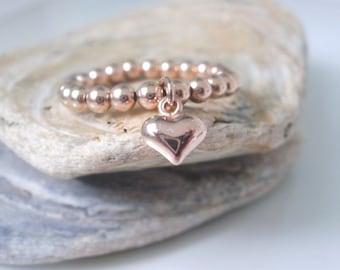 Rose Gold Heart Ring, 14k Rose Gold Filled Beaded, Handmade Stretch Stacking Charm Rings, Gift for Women, Custom Sizes