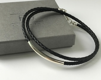 Mens Leather Necklace with Sterling Silver Tube Bead, Brown or Black Leather Braid Thong, UK Handmade Gift for Him in Gift Box, Custom Sizes