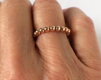 Rose Gold Stacking Beaded Rings for Women, 18k Rose Gold Filled, UK Handmade Stretch Rings, Custom Sizes inGift Box