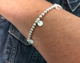 Sterling Silver Disc Charm Bracelet for Women, Handmade Stretch Stacking Bracelet UK, Custom Sizes