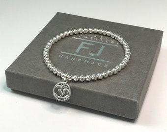 Sterling Silver Om Bracelet, Spiritual Gift for Her, Stretch Beaded Ohm Charm Bracelet, Stress Relief Bracelet, Custom Sizes