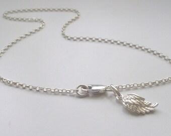 Sterling Silver Ankle Bracelet, Angel Wing Anklet for Women, UK Handmade Gift for Girls in Gift Box, Custom Sizes