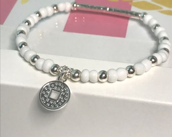 Sterling Silver Coin Charm Beaded Bracelet, UK Handmade Stretch Bead Bracelet Gift for Women, Custom Sizes, Choose Colour