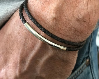 Mens Leather Wrap Bracelet, Sterling Silver Beaded Wristband in Black or Brown Leather Braid, UK Handmade, Custom Sizes, Gift Boxed