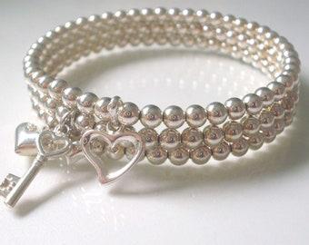 Sterling Silver Stacking Bracelet Set for Women, Beaded Love Heart Key Charm Bracelets, UK Handmade Gift for Her, Custom Sizes