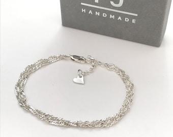 Sterling Silver Bracelet UK Gift for Women, Handmade Double Strand Chain Bracelet, Adjustable with Heart Extender, Custom Sizes, in Gift Box