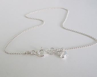 Sterling Silver Heart Charm Anklets, Ankle Bracelet, Dainty Ankle Chain for Women, Ankle Bracelet, Handmade Gift for Women, Custom Sizes