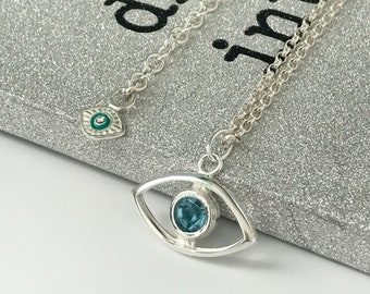 Sterling Silver Necklace with Evil Eye Pendant, Necklace with Extender, UK Handmade Gift for Women in Gift Box, Custom Sizes