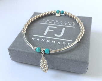 Sterling Silver Feather Charm and Turquoise Beaded Stretch Bracelet, UK Handmade Gift for Women, Custom Sizes, Gift Boxed