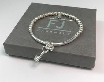 Sterling Silver Beaded Bracelets with Key Heart Charms, UK Handmade Stretch Bracelet Gift for Women, Custom Sizes