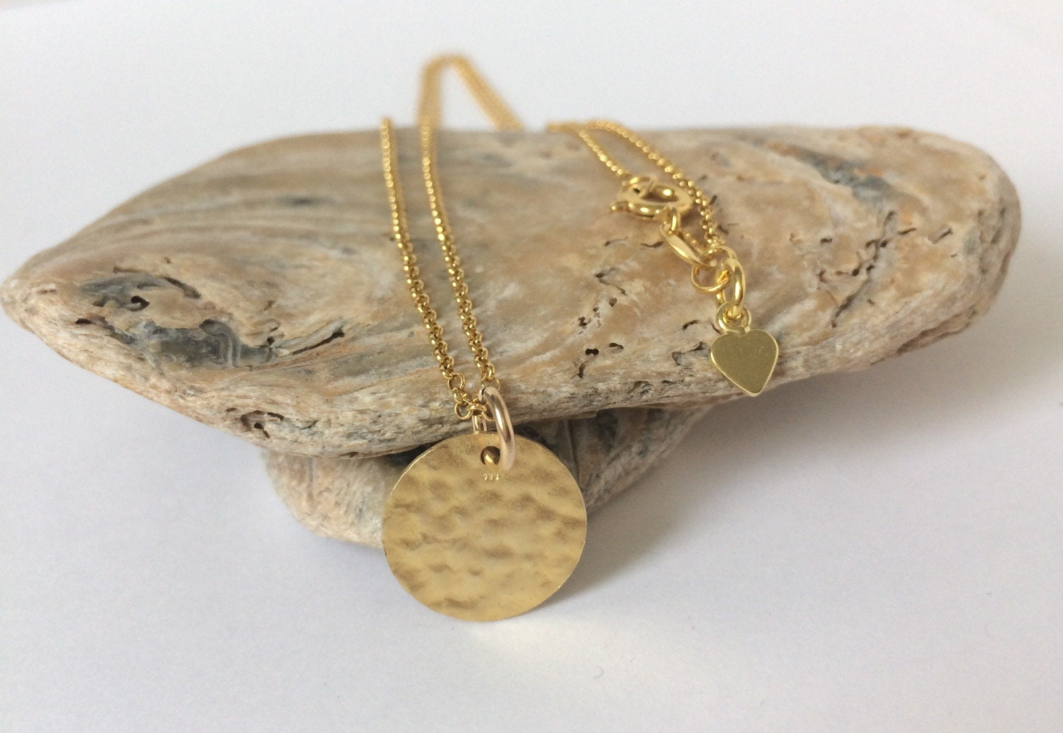 99aee293418 Dainty Gold Full Moon Necklace, Hammered Disc Pendant, Simple ...