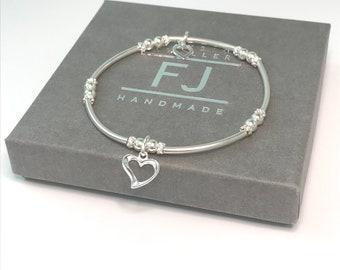 Sterling Silver Hearts Bracelet, UK Handmade Stretch Beaded Bracelet, Gift for Women, Heart Charm Bracelet, Custom Sizes, Gift Boxed