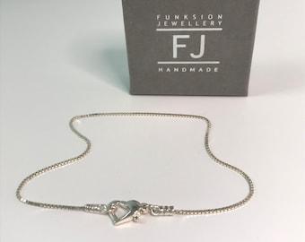 Sterling Silver Box Chain Anklet with Heart Clasp, Sparkling Ankle Bracelet Gift for Women, UK Handmade, Custom Sizes