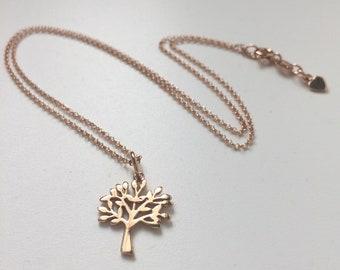Tree of Life Necklace Gift for Women, Rose Gold Pendant Tree Charm on 18k Vermeil Mini Belcher Chain, Custom Sizes, Handmade