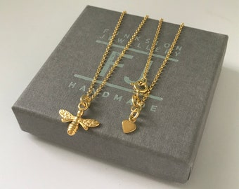 """Gold Bee Necklace Gift for Women, Dainty Gold Necklace Chain, 18k Gold on Sterling Silver Pendant Necklaces, UK Handmade - 16"""" 18"""" or 20"""""""