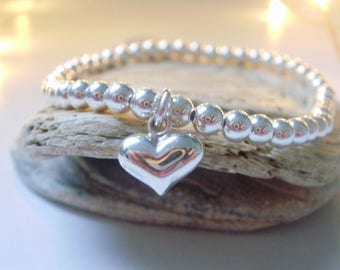 Heart Bracelets for Women in Sterling Silver, Beaded Puffed Heart Charm Love Bracelets, UK Handmade Gift for Friends in Custom Sizes,