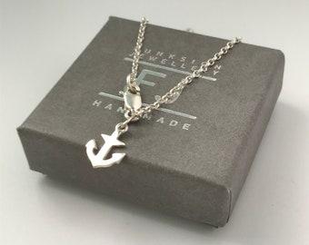 Sterling Silver Ankle Bracelet, Gift for Women, UK Handmade Ankle Chain Bracelet Anchor Anklet, Custom Sizes, Gift Boxed, Optional Initial