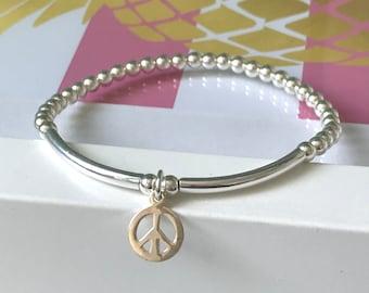 Peace Sign Bracelet, Sterling Silver Bracelets Gift for Women, UK Handmade Stretch Beaded Ball Bracelet, 4mm Beads, Custom Sizes, Gift Boxed