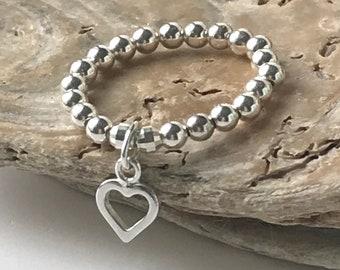 Sterling Silver Heart Charm Rings, Stretch Stacking Beaded Rings, UK Handmade Gift for Women, Custom Sizes, Gift Boxed Ring