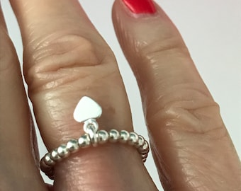 Sterling Silver Bead Rings for Women, Beaded Heart Charm Stretch Stacking Ring, UK Handmade Gift for Her, 2.5mm Beads