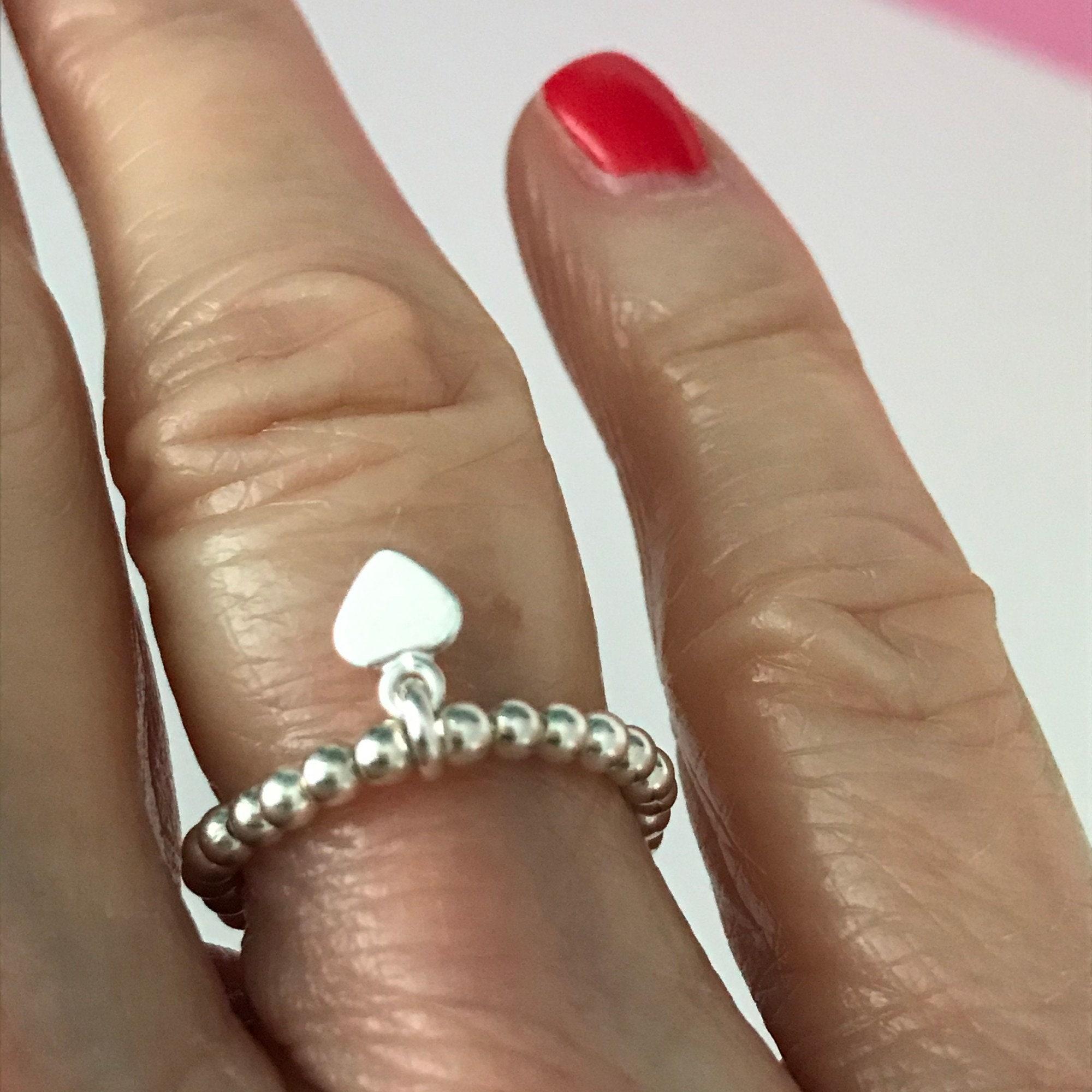 Sterling Silver Rings For Women Beaded Heart Charm Stacking Ring Uk Handmade Stretch Elastic Gift For Her 2 5mm Ball Beads