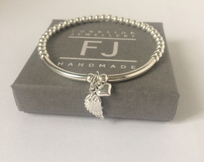 Featured listing image: Sterling Silver Bracelets for Women, Angel Wing Heart Charms, 4mm Beaded Gift for Her, 925 Stretch Silver Jewelry, Handmade, Custom Sizes