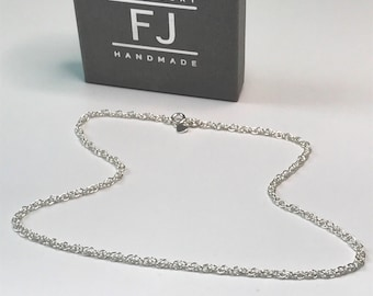 Sterling Silver Rope Chain Necklace, 925 Silver Multi Link Chain Necklace, UK Handmade Gift for Women, Custom Sizes, Gift Boxed