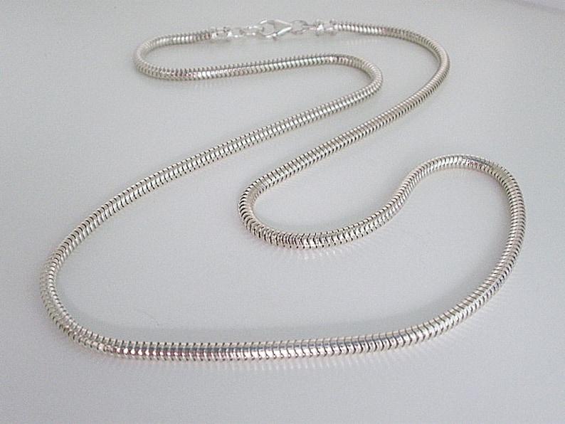 5ab652f36b85e Snake Chain Necklace, Mens Sterling Silver Necklace, 3mm Solid Silver  Chain, 925 Silver Snake Chain, Handmade, Unisex, Custom Sizes