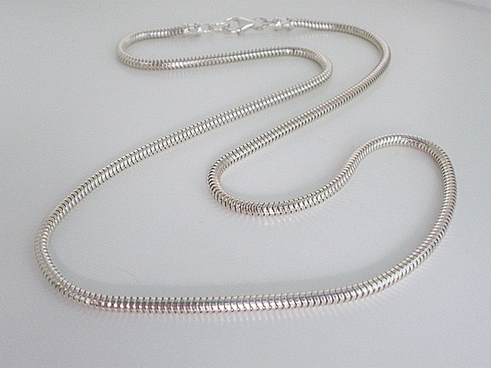 Snake Chain Necklace, Mens Sterling Silver Necklace, 3mm