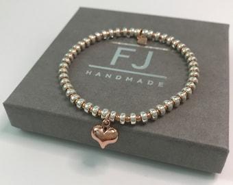 Sterling Silver Rose Gold Bead Bracelet, Heart Charm Stretch Beaded Bracelet, UK Handmade Gift for Women, Custom Sizes, Gift Box