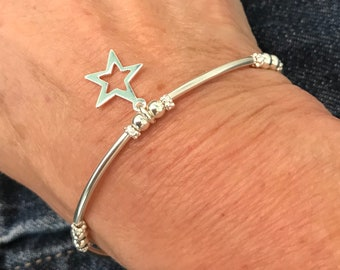 Sterling Silver Stars Bracelet, UK Handmade Stretch Beaded Bracelet, Gift for Women, Star Charm Bracelet, Custom Sizes, Gift Boxed