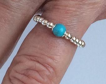 Sterling Silver Turquoise Ring, Stacking Bead Rings, Beaded Ring UK Handmade Gift for Women, Stretch Gemstone Toe / Thumb / Finger Ring