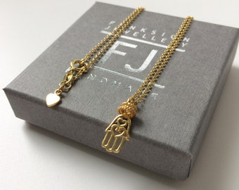 Gold Hamsa Necklace, Hand of Fatima Pendant Charm, Dainty Chain Gold Necklace Gift for Women, UK Handmade Gold Vermeil Jewelry, Custom Sizes