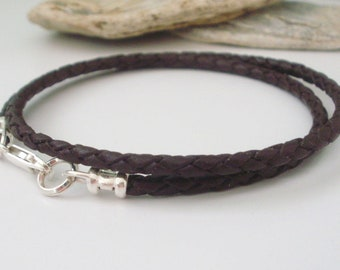 Mens Leather Necklace, Black or Brown Braid & 925 Sterling Silver Thong Choker, UK Handmade Gift, Custom Sizes