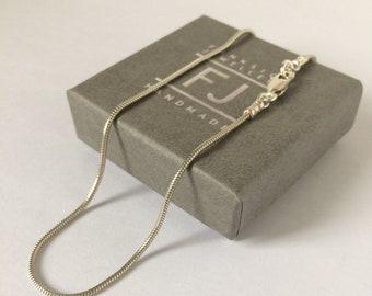 """Snake Chain Anklet, Sterling Silver Ankle Bracelet for Women, 1.2mm Silver Chain, UK Handmade Gift for Her Girlfriend, Custom Sizes 9 - 12 """""""