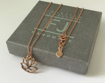 """Lotus Flower Necklace, Rose Gold Necklaces for Women, Flower Charm Pendant in 16"""",18"""", or 20"""", UK Handmade, Gift Boxed"""