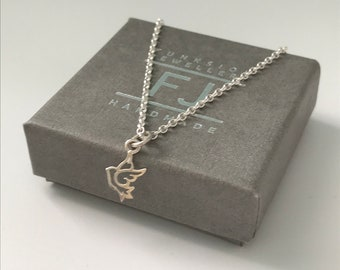 Sterling Silver Anklet with Charm, Dove Anklet for Women, UK Handmade Ankle Chain Gift for Girls, Custom Sizes, Gift Boxed