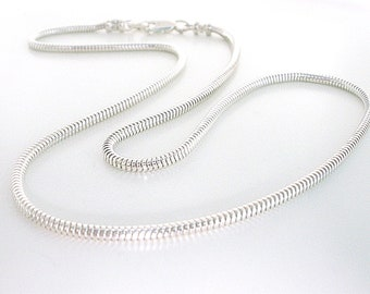 """Mens Sterling Silver Necklace, Solid 2.4mm Round Snake Chain, Handmade Gift for Women, Custom Sizes 18-25"""""""