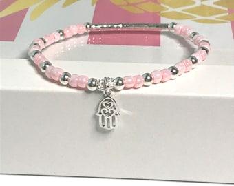 Sterling Silver Hamsa Hand Charm Beaded Bracelet, UK Handmade Stretch Bead Bracelet Gift for Women, Custom Sizes, Choose Colour