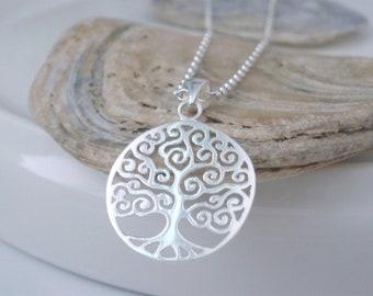 Sterling Silver Tree of Life Pendant Necklace, Handmade Gift for Women, Custom Sizes, Gift Box