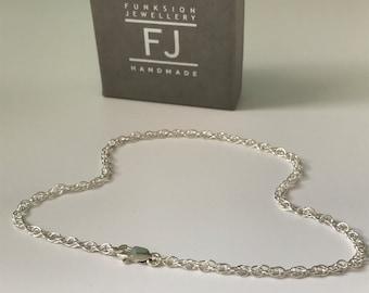Sterling Silver Anklets for Women, Handmade UK Rope Chain Ankle Bracelet, Gift for Women, Custom Sizes, Optional Heart Charm, Gift Boxed