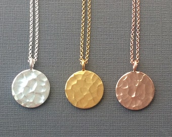 Coin Necklaces for Women, Celestial Full Moon Disc Pendant in Sterling Silver, Gold, or Rose Gold, Handmade Gift for Women, Gift Boxed